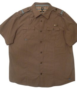 CAVI Casual Short Sleeve Men's Shirt 100% Cotton Double Pockets 2xl Button Down Shirt Brown Plaid