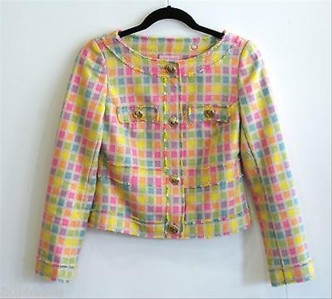 Lilly Pulitzer Lilly Pulitzer Bright Multi Color Checked Cropped Jacket