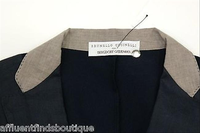 Brunello Cucinelli For Bergdorf Goodman Linen Or Navy Jacket