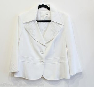 Escada Escada White Pique Jacket Crochet Lace Trim Or