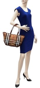 Burberry Brindle House Brown Leather Canvas Shoulder Satchel in Plaid