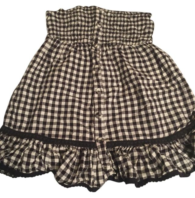 JetSet Empire Waist Gingham Ruffle Strapless Top Black & White