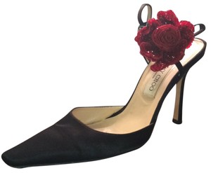 Jimmy Choo Flower Beaded Formal Satin Black Pumps