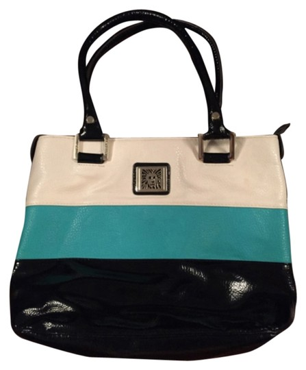 Anne Klein Tote in Black White Blue