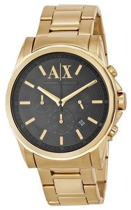 A|X Armani Exchange Armani Exchange Men's Gold Tone Stainless Steel Black Dial Chronograph Watch AX2095