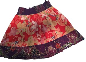Ecote A-line Floral Beaded Elastic Mini Skirt Red Floral