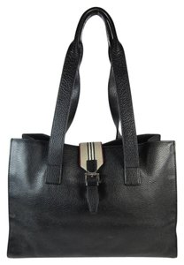Burberry Leather Logo Tote in Black