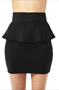 Nasty Gal Peplum Micro-mini Mini Mini Skirt Black
