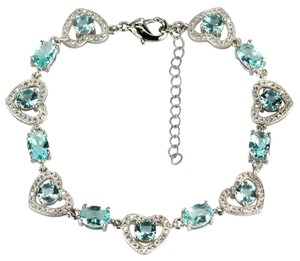 London Blue Topaz Valentine Heart 925 Sterling Silver, 14k, Tennis Bracelet