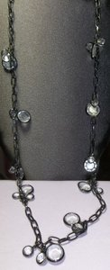 Black Long Link Chain Necklace, Embellished with Round Crystals