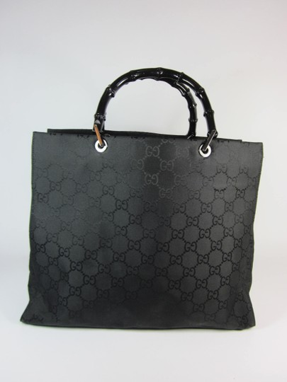 Gucci Gg Logo Leather Bamboo Tote