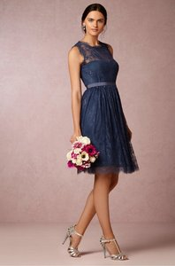 BHLDN Night/Navy Lace with Polyester Lining Celia Feminine Bridesmaid/Mob Dress Size 6 (S)
