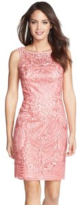 Sue Wong Ribbon Applique Sleeveless Sheath Dress