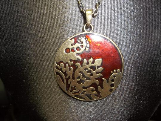 Other Medallion Style Necklace, Brass with Deep Red Design