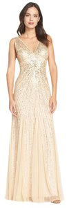 Adrianna Papell V-neck Beaded Mesh Mermaid Dress