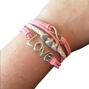 Pink & White Leather Love Hearts Infinity Bracelet