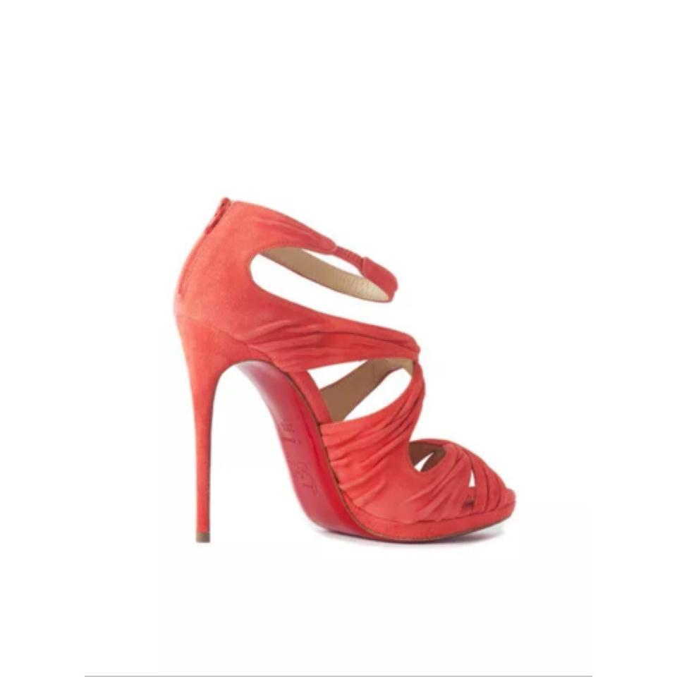 christian louboutin ruched leather slide sandals