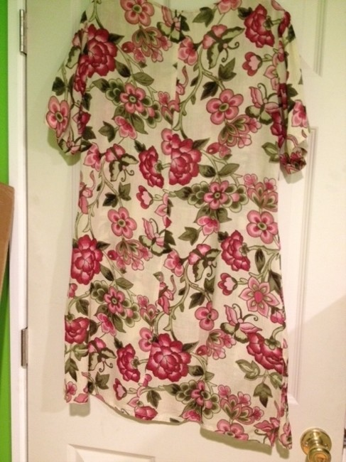 Lotus short dress floral print pink, green on cream backround New With Tags Attached on Tradesy
