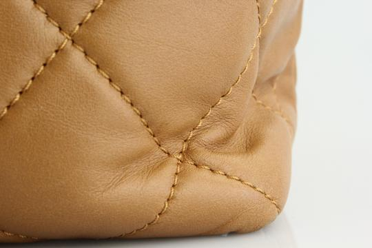 Chanel Quilted Chain Leather Tote in Cognac
