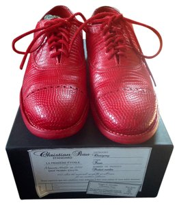 Christian Peau Oxford Lizard Leather Red Flats