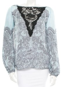 Emilio Pucci Black Silk Lace Print Longsleeve Small 40 6 Top Blue