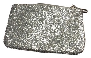 Ann Taylor Wristlet in silver crystalized leather