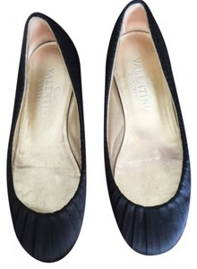 Valentino Pleat Pleated Silk Satin Black Flats