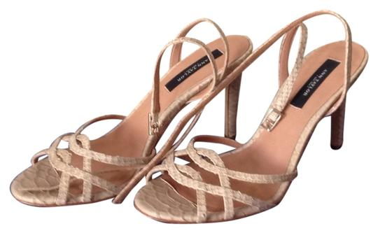 Ann Taylor Leather Heels Tan Sandals