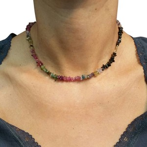 Adelaide Maria Tourmaline Chocker with 18k Yellow gold spring clasp Multicolor, 15