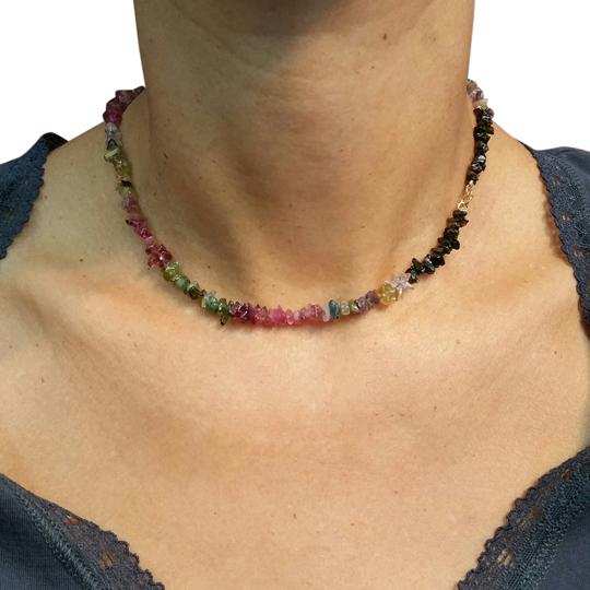 Adelaide Maria Tourmaline Chocker with 18k Yellow gold spring clasp Multicolor, 15""