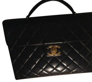 Chanel Brief Case Vintage Handbag Satchel in Black