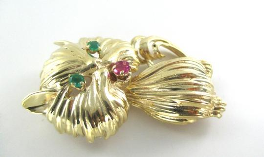 Other 10K SOLID YELLOW GOLD CAT PRECIOUS STONES PIN BROOCH VINTAGE FINE JEWEL NO SCRAP
