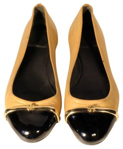 Tory Burch Ballet Ballerina Toe Gold Brown Flats