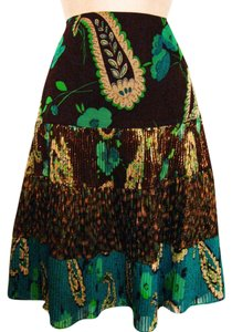 Nanette Lepore 100% Silk Gold Metallic Tiered Skirt Chocolate Brown and Aqua