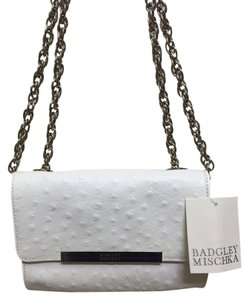 Badgley Mischka Ostrich White Cream Silver Small Purse Designer Neiman Marcus Off-White Clutch