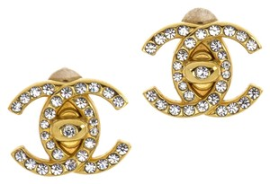 Chanel Chanel Vintage Rhinestone CC Turnlock Earrings