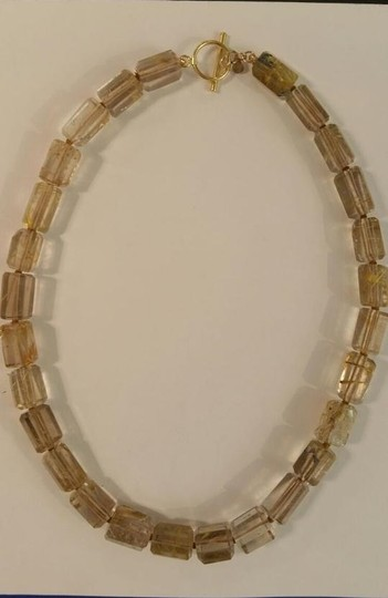 Other Rutilated Quartz Toggle Necklace in18k Yellow Gold,16in