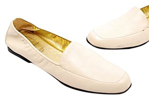 Bruno Magli Leather Loafers Bone Flats