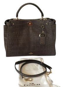 Coach Gramercy Leather Croc Embossed Embossed Top Handle Shoulder Gold Hardware Gray Taupe Satchel in Mink (Grey Brown)