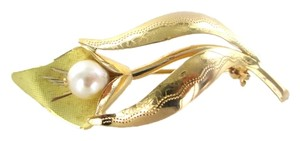 Other 18K SOLID YELLOW GOLD PEARL FLOWER PIN BROOCH LEAF VINTAGE NO SCRAP FINE JEWELRY