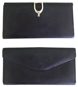 Gucci Gucci Black Leather Stirrup Clasp Wallet