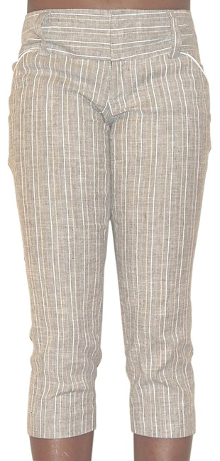 Alice + Olivia Linen Striped Pinstripe Capris Gray