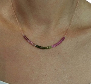 Tourmaline Multicolor Chain in 18k Rose Gold Necklace,16in