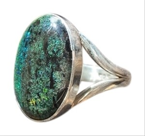 925 Sterling Silver Andamooka Opal Ring Size 6.75