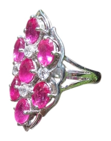 Other 925 Sterling Silver Ruby with White Topaz Ring Size 7