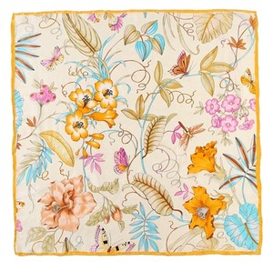 Other Large Square Silk Jacquard Scarf Gold Floral 100% Silk Hand Rolled