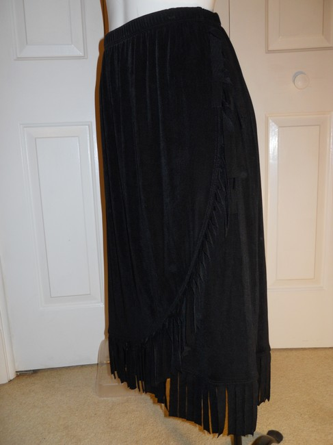 Chico's Knit Fringed Skirt black