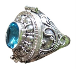 Other 925 Sterling Silver Blue Topaz Poison Ring Size 7.5