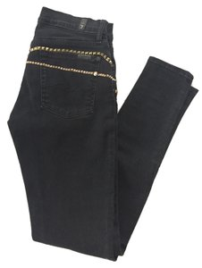 7 For All Mankind Studded Embellished Skinny Jeans-Dark Rinse