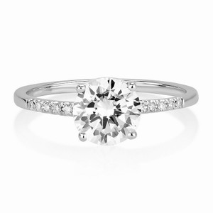 0.85 Ct E/vs2 Round Diamond Engagement Solitaire Ring 14 White Solid Gold